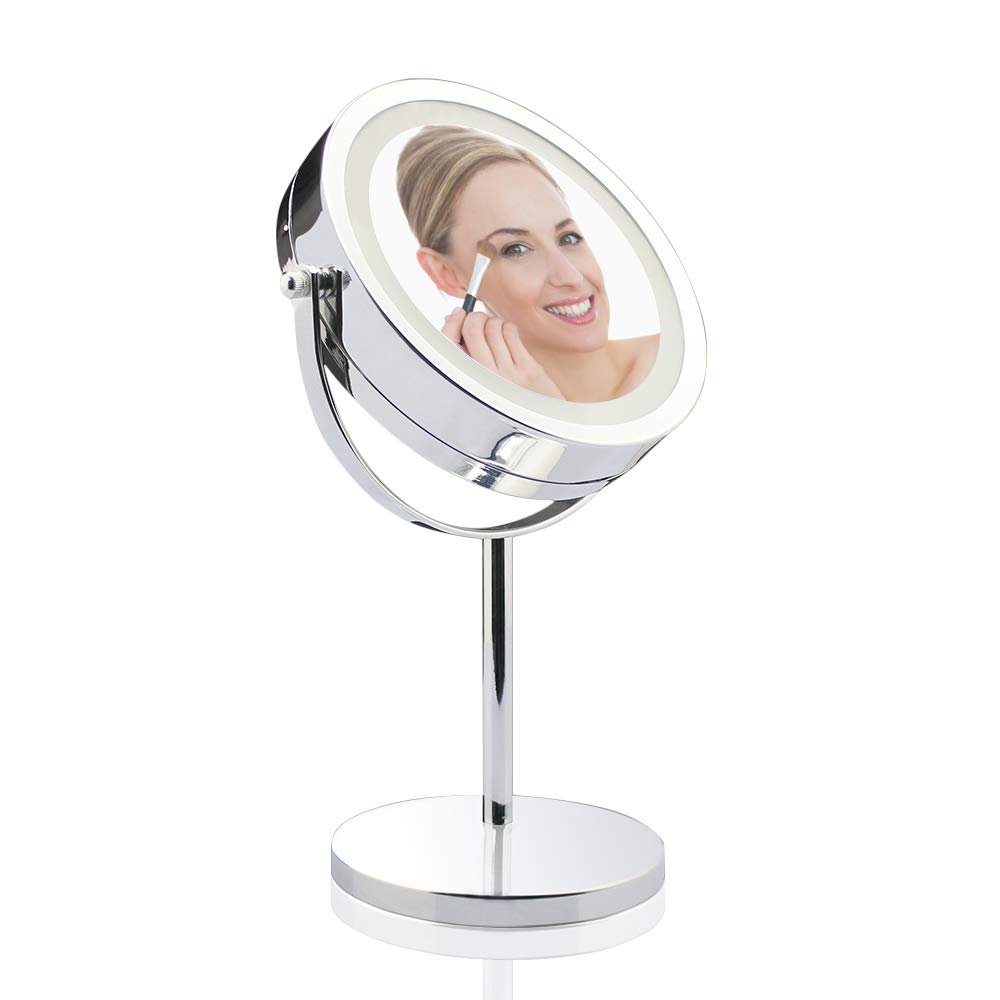 Lighted Makeup Mirror - 7 Inch Lighted Vanity Mirror, 1x/7x Magnifying Double Sided Mirror With Stand, AC Adapter Or Battery Operated, Natural White Light, Cord Or Cordless
