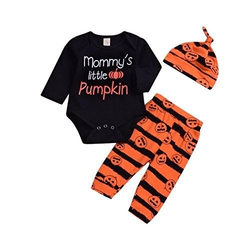 BELS Baby Girl Boy Halloween Clothes Pumpkin Romper and Striped Pants with Hat Outfit (Black, 100/18-24M)