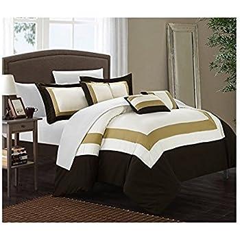 polka dots print gold glam twin twin xl comforter set home kitchen. Black Bedroom Furniture Sets. Home Design Ideas