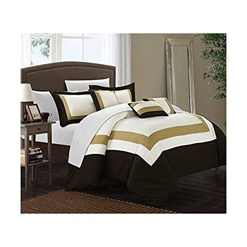 Chic Home Duke 10 Piece Comforter Set Complete Bed in a Bag Pieced Color Block Patterned Bedding with Sheet Set And Decorative Pillows Shams Included, Queen (Ivory Contemporary Print)