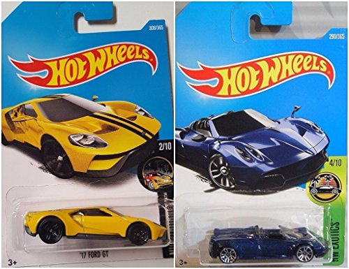 Hot Wheels '17 Ford GT Yellow 308/365 and '17 Pagani Huayra Roadster Blue 290/365 2 Car Set Bundle - Blue Roadster Car
