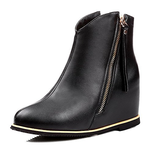 AllhqFashion Womens Round Closed Toe Low-top High-Heels Solid PU Boots Black