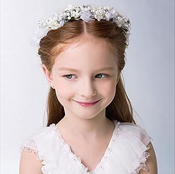 KMALL Rosa coroncina fiori capelli con bracciale fiore per sposa damigella  donore bambina donna per matrimonio 4d026a853914