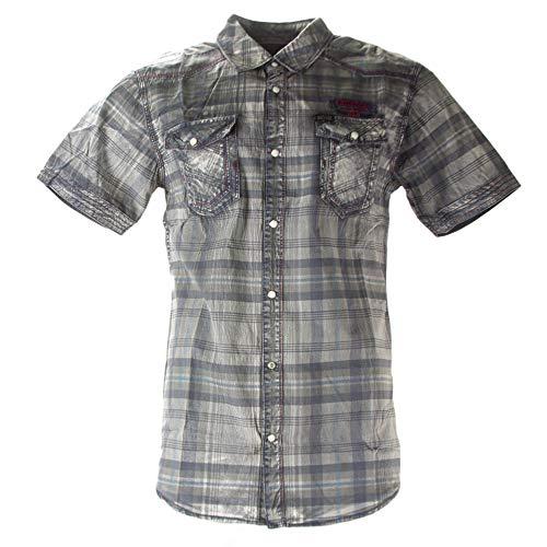 Buffalo David Bitton Men's Steddy Short Sleeve Button-up Shirt Large, Petrol Plaid