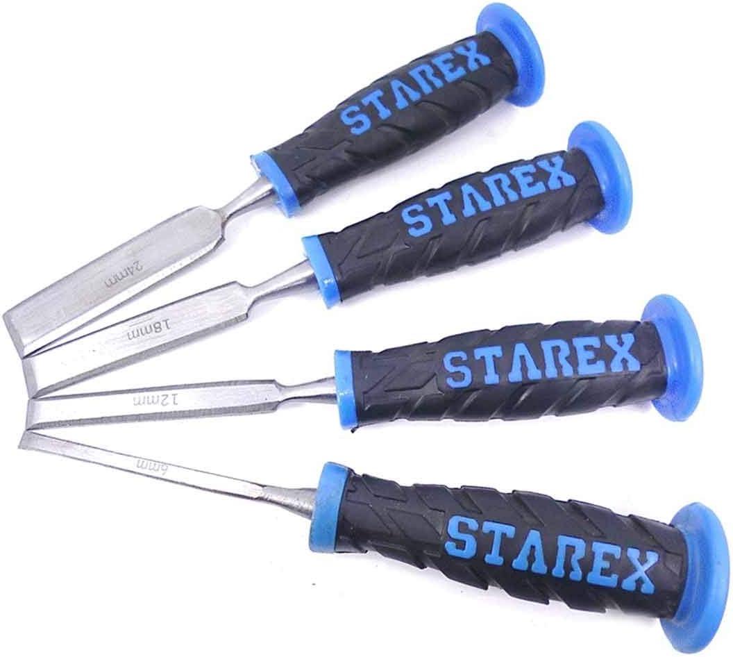 12 6 Set 4pz scalpelli//sgoribe per la lavorazione del legno 18 e 24 mm Impugnatura solida in plastica morbida