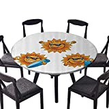 large 18 x 57 ironing board - Round Tablecloth Surf Sun Characters Wearing Shades and Surfboards Fun Hippie Summer Carto Kids for Family Dinners or Gatherings 55