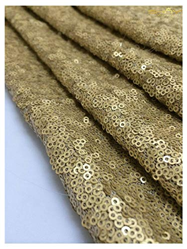 3 Feet 1 Yards Sequin Fabric, By the Yard, Sequin Fabric, Tablecloth, Linen, Sequin Tablecloth, Table Runner Photo Booth Backdrop,READY TO SHIP!! (Matte Gold) ()