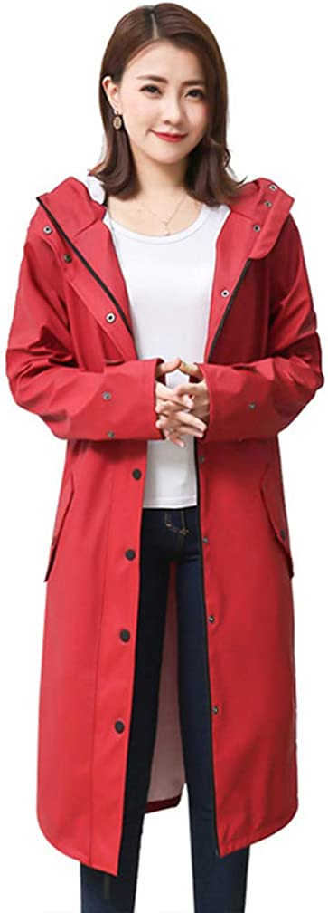 grau blau, rot Dajolg Djolg High-End-Damenregenmantel Regenponcho Hochwertiges Feines Gewebe Regenmantel//Regenmantel Damen Poncho//Regencape Fahrrad Regenbekleidung Boutique Damen Regenmantel