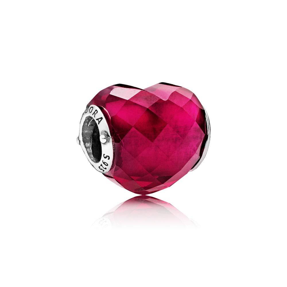 Pandora Shape of Love Fuchsia Charm with Crystal 796563NFR by PANDORA