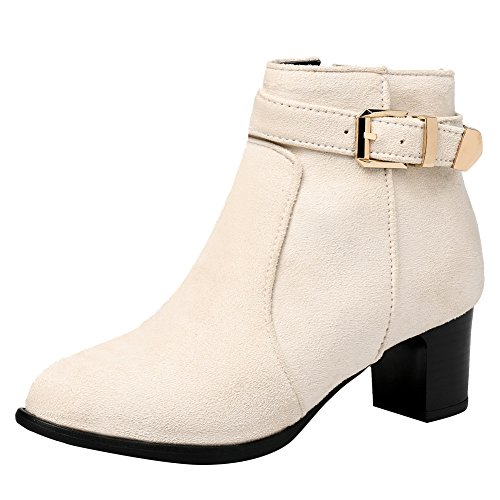 Beige Ankle Mid Latasa Boots Strap Womens Buckle and Heel 4x4q81Yv