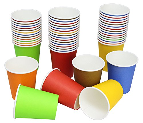 Hot Party Paper Cups, 8 Ounce, 50 Count, Multiple Colors (Mix Colors, 3 Colors At - Color Mix Orange