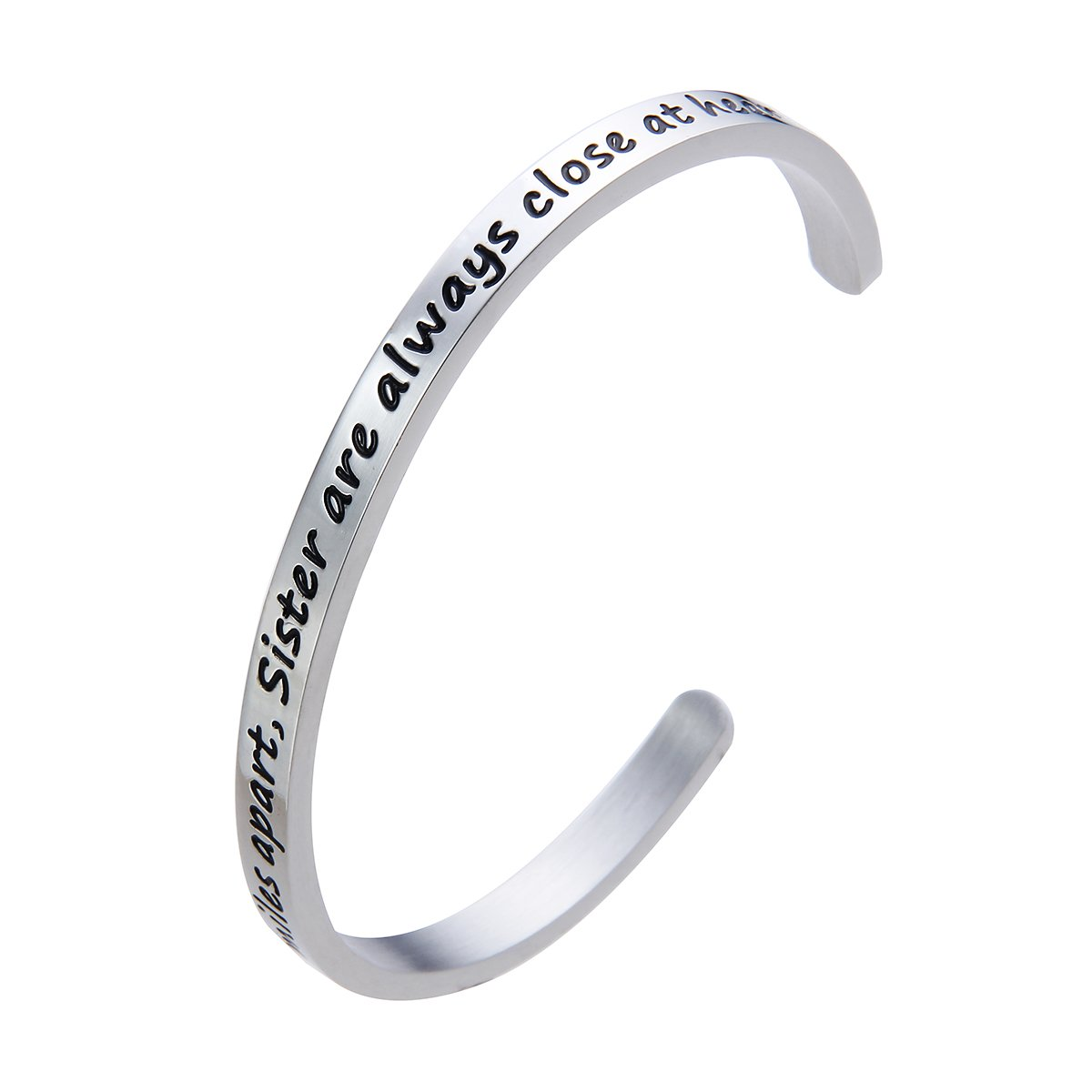 Meibai Maid of Honor Bracelet Stainless Steel Message Cuff Bangle Wedding Gift for Bridesmaid Sister (Side by Side or Miles Apart, Sister are Always Close at Heart)