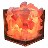 Himalayan CrystalLitez Himalayan Salt Lamp With Dimmer Cord, Original Salt Crystals In A Glass Bowl,Natural Air Purifier and Aromatherapy Salt Lamp,New UPGRADED designs(Square)