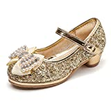 Maxu Girl's Glitter Princess Shoes With Rinestone Pearl Bowknot Gold Little Kid Size 13