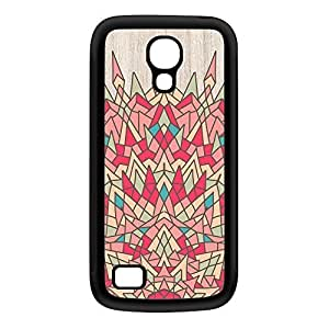 Colourful Geometric Mandala on Light Wood Grain Texture Black Silicon Rubber Case for Galaxy S4 Mini by UltraCases + FREE Crystal Clear Screen Protector