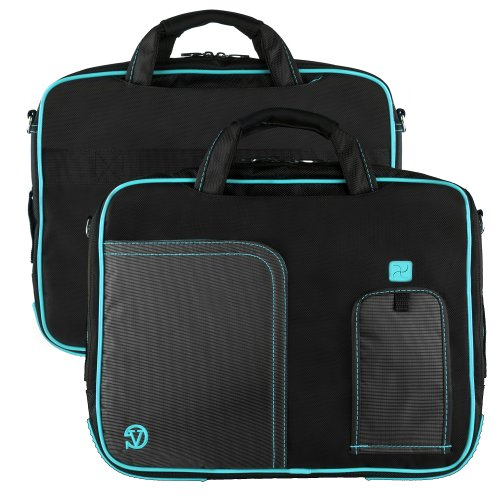 Innovative 17 inch Aqua Blue Pindar Travel Friendly Laptop Bag for the Toshiba Satellite L770D Ultrabook with Extra Features: Reinforced construction, Velcro charging port to charge without removing device, Apple iPad sized Pocket for tablets or eReaders, Unique pull down Smartphone & MP3 front pocket with earphones slot, and Tuck Away Handles!!! + Compatible Earbuds and Wireless Mouse!