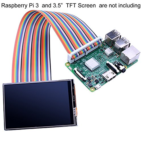 """kuman Breadboard Jumper Wires 40pin Male to Female Ribbon GPIO Cable for Connection Raspberry Pi 3 2 Model B B+ w/ 3.5"""" 5 inch Touch TFT Screen LCD display ()"""