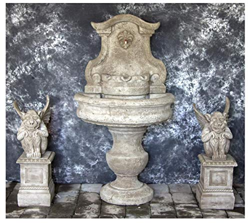 (Fleur de Lis Garden Ornaments LLC Palermo Wall Fountain with Gargoyles on Egg and Dart Pedestals Package Number 1036)