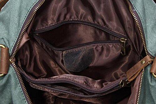 MeiliYH Hombres Lona Kraft Hombro Bolso Casual Gran bolsa de Viaje al Aire Libre gris oscuro