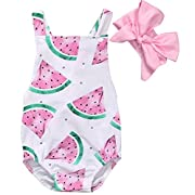 Happy Town Baby Girls Watermelons Print Backless Ruffle Bodysuit With Headband (Pink, 18-24 Months)