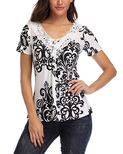 MISS MOLY Peasant Blouses Women's Peasant Tops Deep V Neck Shirts Peplum Tops Women Ruched Front Sexy Summer Tee