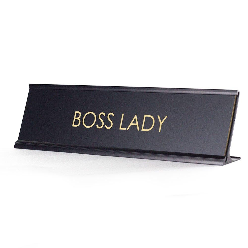 Boss Lady - Black Desk Name Plate for Boss