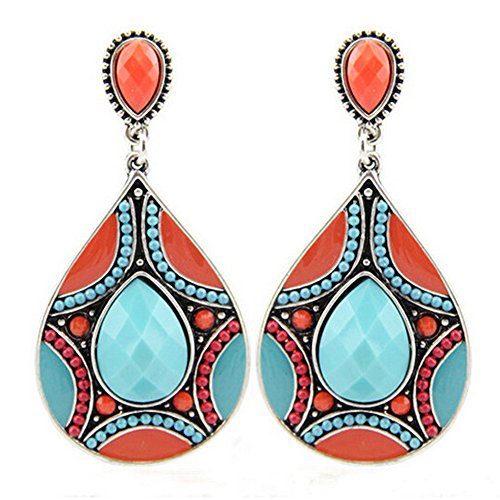 Elakaka Women's Beads Pattern Resin Droplets Earrings(Blue) (Trifari Coral Bracelet)