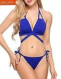 Avidlove Womens Halter Bikini Set Tie Side Bottom Swimsuit Swimwear Bathing Suit Blue XL