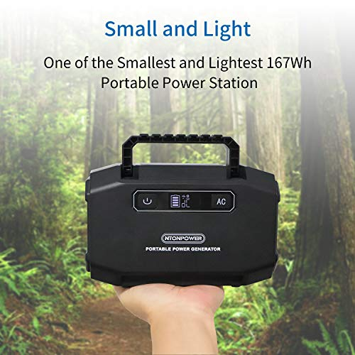 NTONPOWER Portable Power Station – 167Wh Solar Generator, Lithium Battery Backup Power Supply, 110V 150W Peak 250W Dual AC Outlets, 3 DC Ports, 2 USB Ports, for Camping, Fishing, CPAP, Emergency