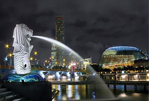 Skyscraper Sculptures - Leyiyi 7x5ft Famous Merlion Spray Sculpture in Singapore Backdrop Skyscraper Bridge Lake Water Bustling Night Scene Tourist Landmark Personal Party Backdrop YouTube Background Props