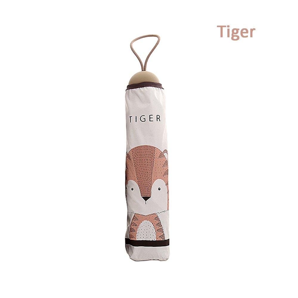 Toim - Carcasa doble capa paraguas telescópico paraguas plegable paraguas sol sombreado y lluvia paraguas anti-UV sol lluvia paraguas parasol, Tiger: ...