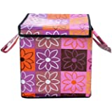 AS2Retail Laundry Square Shape Basket Bag/Foldable/Multipurpose/Carry Handles/Zippered Lid for Home, Cloth Storage (Colour and Print Might)