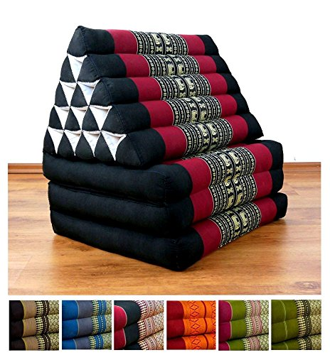 XXL Three Fold Thai Cushion, 74x22x3 inches (LxWxH),extra big Triangle for Backrest, 100 % Natural Kapok Filling, Foldable Thai Mat with Triangle Cushion, Headrest, Thai Pillow by LivAsia