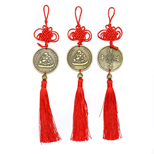 (JETEHO Chinese Feng Shui Happy Buddha Coin with Chinese Knot Red Tassels for Good Luck and Healthy )