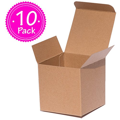 Chocolate Brown Gift Boxes - Brown Kraft Gift Boxes 3x3x3 inch ANGELCRAFT 10-Pack