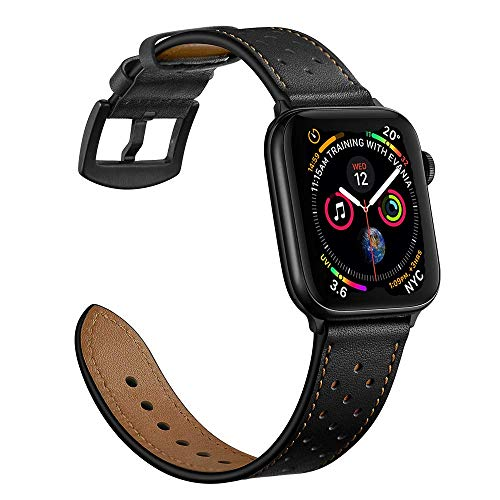 Mifa Leather Band Compatible with Apple Watch 4 44mm 42mm iwatch Series 3 2 1 Replacement Strap Dressy Classic Bands Buckle Vintage Band with Black Stainless Steel Adapters (44mm/42mm, Black)