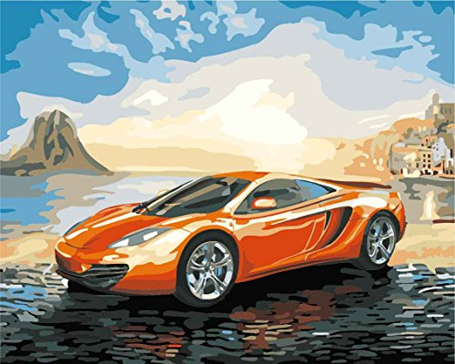CaptainCrafts New DIY Paint by Numbers 16x20 for Adults Beginner Kit, Kids Linen Canvas - Orange Cars (with Frame)
