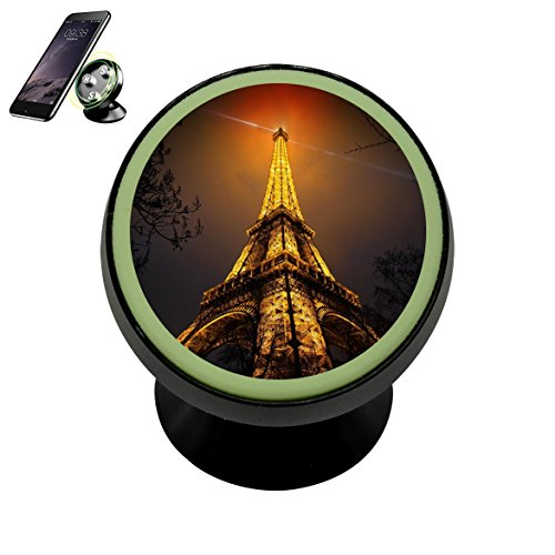 French Eiffel Tower Paris Magnetic Phone Car Mount Holder Noctilucent Mobile Cradle Stand Universal 360 ° Rotating Car Dashboard Support Cell Phone Kit Gadget