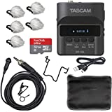 Tascam DR-10L DIgital Field Audio Recorder & Lavalier Microphone Bundle with Deadcat Windscreens (5PK) & 32GB Micro SDHC Card