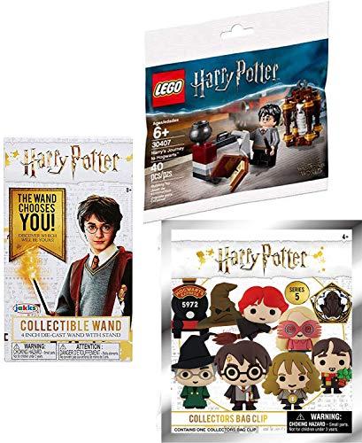 LEGO Keyring Harry Potter Juego de ladrillos Viaje al edificio de Hogwarts con Hedwig Mini figura Compatible con paquete de varita mágica fundida a presión y bolsa de persiana Llavero suave de personaje 3D