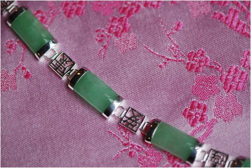 Chinese Character Silver and Green Jade Bracelet