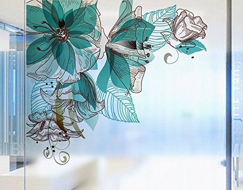Keepforeverlove Frosted Glass Sticker, Beautiful Flowers Frosted Sticker For Bathroom Balcony Sliding Door Waterproof Decorative Window Film (Blue)