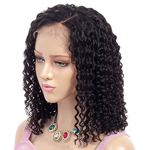 Search : ATZHAIR 13x6 Lace Front Wigs Brazilian Virgin Human Hair Wigs Glueless Cap Deep Curly Bob Wig Pre Plucked with Baby Hair for African American Women 150% Density Natural Color 10 inches