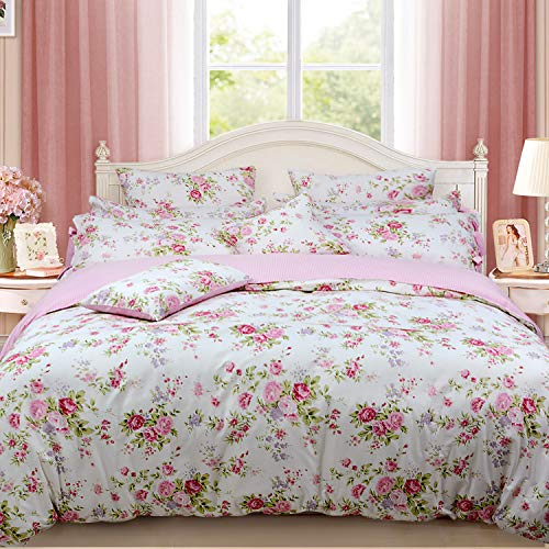 FADFAY Shabby Rose Floral Duvet Cover Pink Plaid Girls Bedding Set100% Cotton Hypoallergenic Bed Sheet Set,5Pcs (1 Duvet Cover +1 Fitted Sheet+ 1 Flat Sheet +2 Standard Pillowcases), Full Size ()