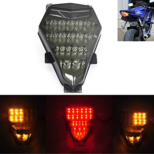 MZS Tail Light LED Turn Signal Blinker Integrated compatible Yamaha YZF R6 YZF-R6 RJ15 2008 2009 2010 2011 2012 2013 2014 2015 2016 (Smoke)