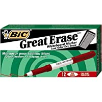 BIC Great Erase Grip Marcador de borrado en seco, punta fina, rojo, 12 unidades