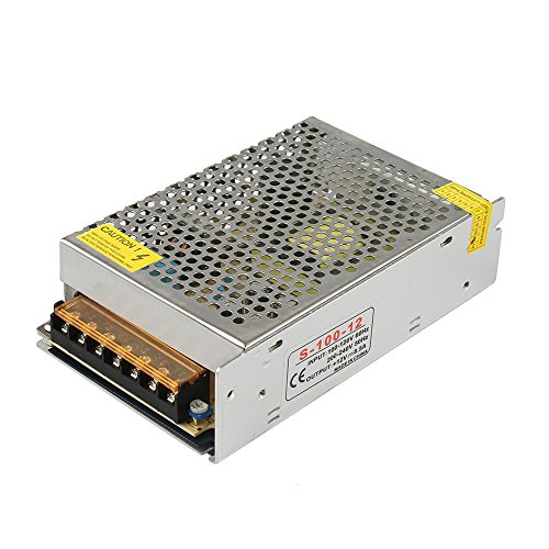 Price comparison product image GALYGG AC 110V-220V to DC 12V 8.5A (100W) Universal Regulated Switching Power Supply, Transformer, for 2835 3528 5050 LED Strip Lights, CCTV, Radio, Computer Project, Light Fixtures Lighting