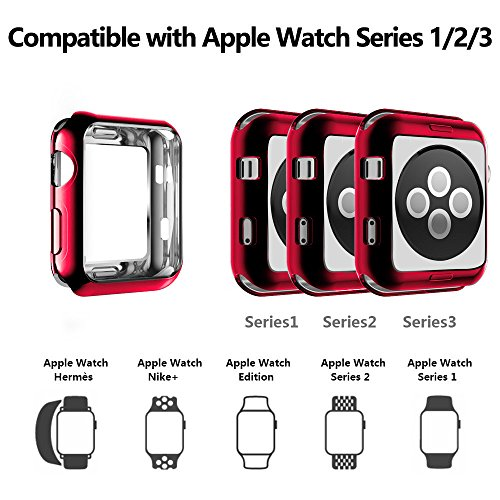 Weite Scratch-Resistant Soft Flexible TPU All-Around Protective Case, High Definition Clear Ultra-Thin Cover Compatible Apple Watch Case 42mm Iwatch Series 2/3 (Red) by Weite (Image #5)