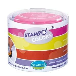 Aladine 85152 Stampo Colors - Lote de 4 tampones para sellos de madera (colores rosa, amarillo, naranja y morado)
