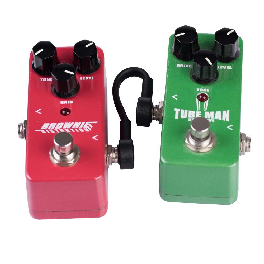 Cables de conexi/ón de 15cm Rayzm Cable Patch Plano para Guitarra Cable en Angulo de 6.35mm para Pedales de Efectos Guitarra//Bajo Pack de 2, Negro